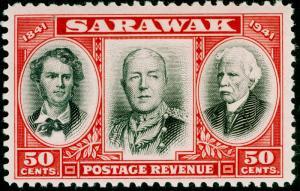 SARAWAK SG148, 50c black & scarlet, NH MINT.