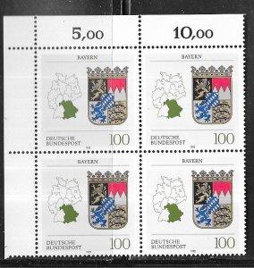 Germany #1700 100pf Bayern  plate # blk of 4 (MNH)  CV$5.50