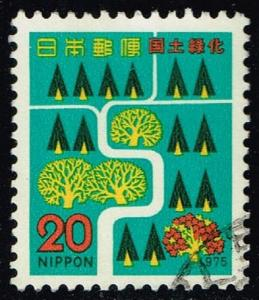 Japan #1214 Trees and River; Used (0.25)