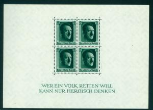 GERMANY 1937  SEMI POSTAL  Block S/S  Sc# B102  MNH
