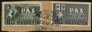 Switzerland - 1945 Peace Issues Used on Piece #299-300