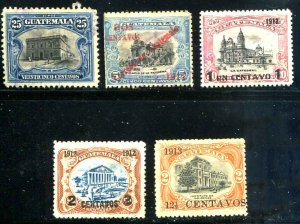 Guatemala SC# 141, 144, 147-8 153 o/p'd  Buildings Used SCV $3.10