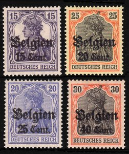 Belgium 1916-18 Surcharged Sc#N16-19 Lot of 4 MH OG F-VF