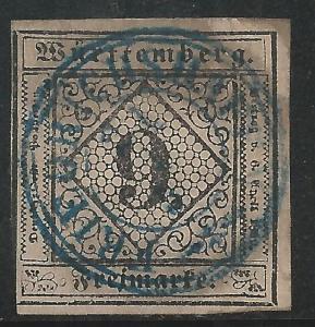 German States Wurttemburg Scott #5 Used Stamp