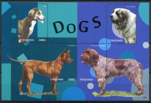 Tanzania Dogs Stamps 2014 MNH Taigan Pyrenean Mastiff Thai Ridgeback 4v M/S II