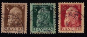 BAVARIA-Bayern-Scott #96-98 INCOMPLETE SET Of 3 USED Early German States F-V