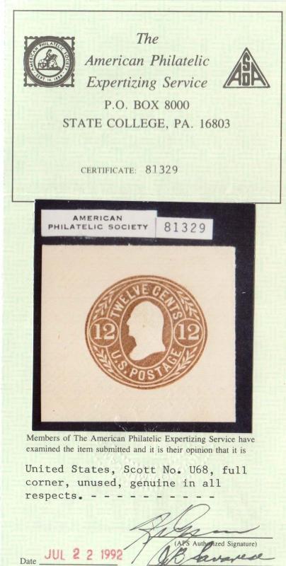 USA #U68 XF Mint Full Corner **With Certificate**