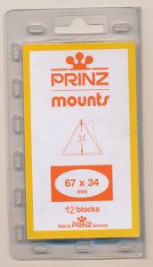 Prinz Scott Stamp Mount 67 x 34 BLACK Background Pack of 12
