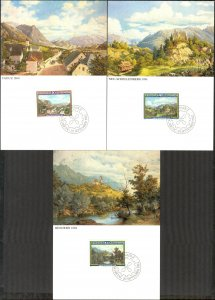 Liechtenstein 1982 Art Paintings Landscapes Architecture 3 Maxi Cards FDC