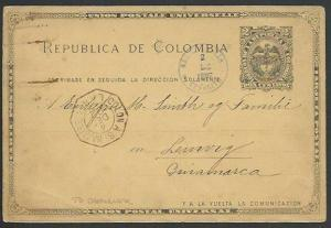 COLOMBIA TO DENMARK 1892 2c postcard, French Mailboat, LEMVIG arrival cds..61299