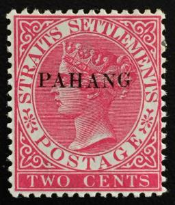 Malaya 1889 Pahang opt SS QV 2c Mint OG raised G SG#4/ISC#4c CV RM700 M1506