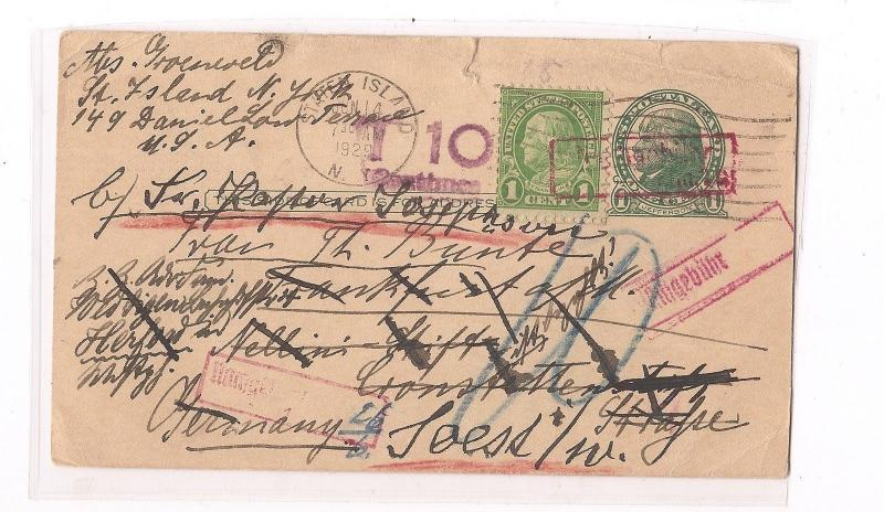 US 1c Jefferson PSC uprated 1c Franklin to Germany, taxed, many markings (bam)