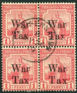TRINIDAD & TOBAGO-1918 1d Scarlet War Stamp Block of 4, 1 with OVPT type 26a VFU