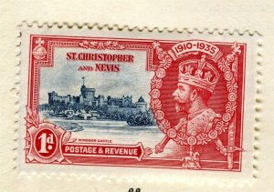 ST. KITTS; 1935 early GV Jubilee issue Mint hinged 1d. value