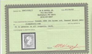 CANADA # 45 FVF-10cts RED BROWN SMALL QUEEN CAT VALUE $450 WITH CERTIFICATE