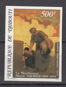 DJIBOUTI SC# C127 THE LAUNDRESS PAINTING BY HONORE DAUMIER MNH - IMPERF