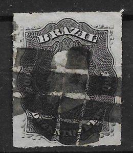 1866 Brazil 59 Emperor Dom Pedro 200r heavy cancel