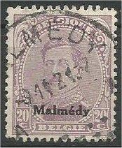 GERMAN, 1920, used 20c, MALMEDY ISSUE, Scott 1N48