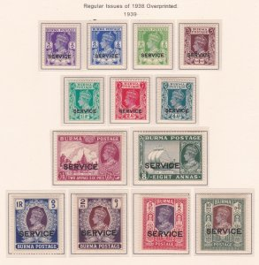 Burma # O15-27, Regular Issues Overprinted for Official Use,  H & NH, 1/2 Cat
