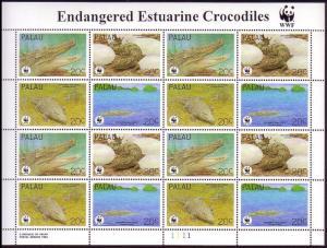 Palau WWF Estuarine Crocodile Sheetlet of 4 sets SG#673-676 MI#690-693 SC#323