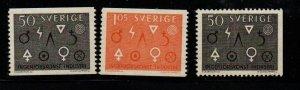 Sweden Sc 626-28 1963 Engineering & Industry symbols stamp set mint NH