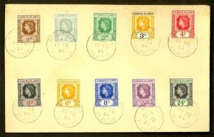 LEEWARD ISLANDS 1954 QE2 SHORT SET OF 10 to 24c on FDC Sc 133-142 ST KITTS
