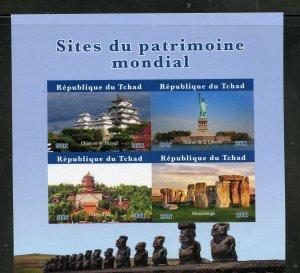 Chad 2021 World Heritage Sites Statue of Liberty Stonehenge impf sheet mint nh