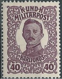 Bosnia & Herzegovina B20 (mh) 40h Karl I, vio (1918)