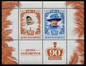 HERRICKSTAMP NEW ISSUES NIUE Sc.# 934a Queen Elizabeth II 90th Birthday S/S