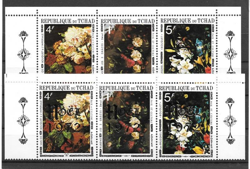 CHAD MNH STRIP OF 6 WITH OVERPRINT SC#236A 278A FLOWERS SCV$11.00