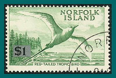 Norfolk Island 1966 Surcharge Tropic Bird, sml tablet, used  #82a,SG71a