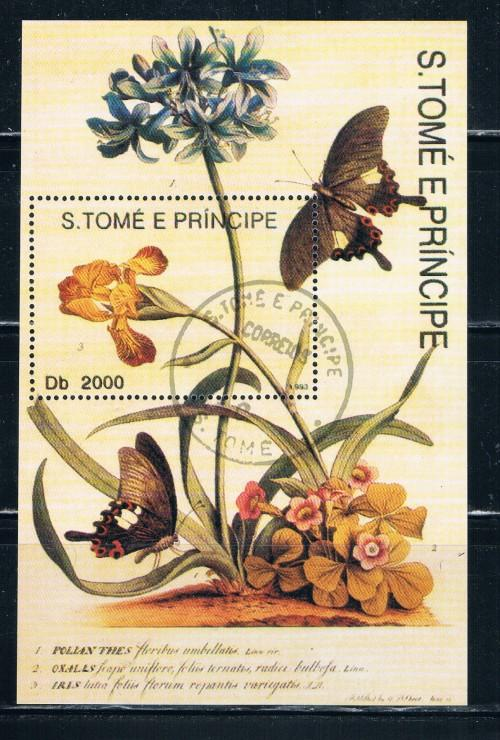 St Thomas and Prince Islands 1104 Souvenir Sheet Used Butterflies (S0153)