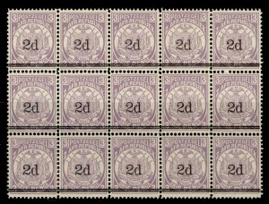SOUTH AFRICA - Transvaal QV SG194, 2d on 3d mauve, NH MINT. Cat £45. BLOCK x 15