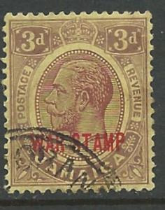 Jamaica # MR11  War Tax 1919 - George V 3d.  (1) VF Used