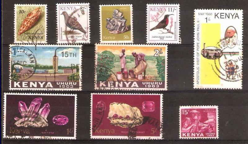 LOT Nr 124 KENYA  BRITISH COLONIES 10 STAMPS OLD AND MODERN