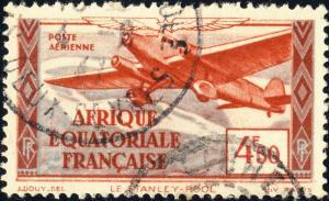 A.E.F. - 1937 - Yv.PA5/Mi.71 4fr50 rouge-brique & bleu-gris Stanley-Pool Obl. TB