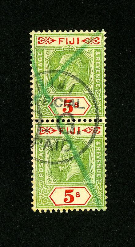 Fiji Stamps # 106 VF cancel pair used Scott Value $95.00
