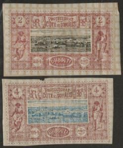 SOMALI COAST MH Scott # 7-8 - remnants, thins, 7 crease (2 Stamps) (1)