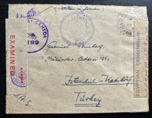 1944 British FieldPost Middle East Forces Censored Cover To Istanbul Turkey