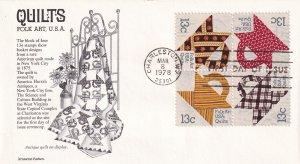 1978, Folk Art-Quilts, Block/4, Aristocrat, FDC (E11758)