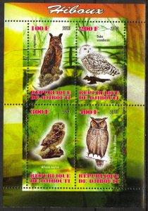Djibouti 2013 Birds (3) Owls MNH Cinderella !