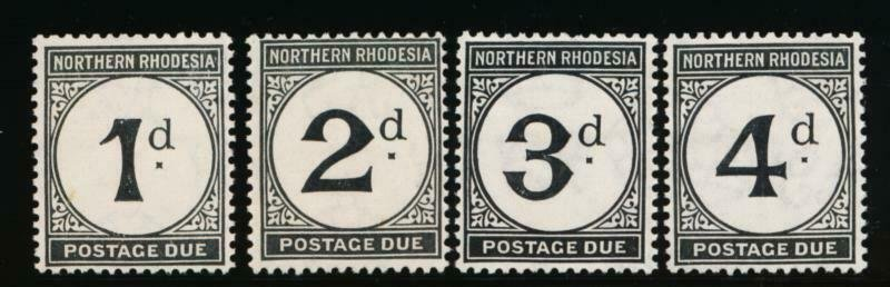 NORTHERN RHODESIA J1-J4 MINT HINGED POSTAGE DUE