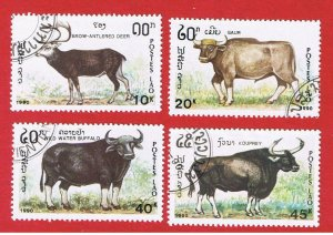 Laos #1015a-1015d  VF used  Animals  short set   Free S/H