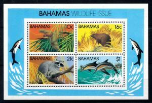 [99633] Bahamas 1982 Marine Life Dolphins Bat Rat Raccoon Souvenir Sheet MNH