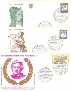 Germany 3 first Day covers  Wagner and A. von Droste Huelshoff