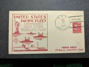 USS PORTLAND CA-33 Naval Cover 1939 NY WORLD's FAIR Cachet CRISTOBAL, CANAL ZONE