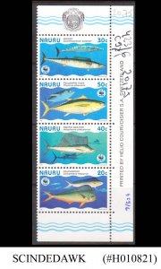 NAURU – 1997 ENDANGERED SPECIES / FISH  - 4V STRIP SE-TENANT - MINT NH