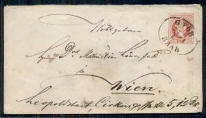 AUSTRIA 5kr postal stationery tied GYOR RAAB to WIEN, unusual cancel