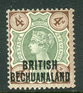BECHUANALAND; 1891 early QV Optd. issue Mint hinged 4d. value