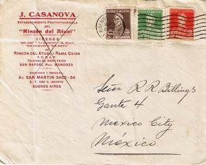 Argentina 2c, 3c, and 5c San Martin 1933 Buenos Aires - 61 to Mexico City, Me...